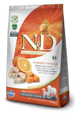 N&D Grain Free PUMPKIN Codefish&Orange Adult Medium&Maxi 12kg