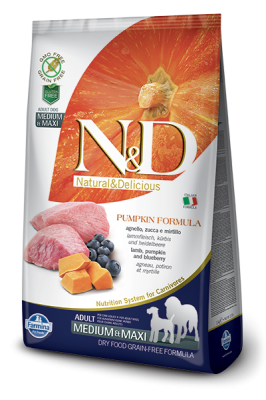 N&D Grain Free PUMPKIN Lamb&Blueberry Adult Medium/Maxi 2,5kg
