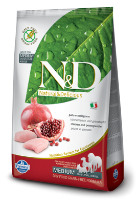 N&D Grain Free Chicken & Pomegranate ADULT DOG MEDIUM&MAXI 12kg